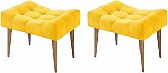 Nay Multicoisas Kit 02 Puff Classic Pés Palito Alto Amarelo - Nay Estofado