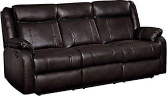 Homelegance Jude 82 Manual Leather Gel Reclining Sofa, Brown