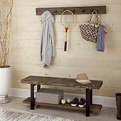 Carbon Loft Lawrence Coat Hook and Bench Set (48 Metal and Wood Wall Coat Hook with Bench)