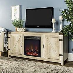 Walker Edison WE Furniture AZ58FPBDWO Fireplace Stand, White Oak
