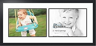 Art to Frames Double-Multimat-1611-61/89-FRBW26079 Collage Photo Frame Double Mat with 2-12x16 Openings and Satin Black Frame, Super White, 2-12x16