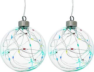 Winter Lane Angel Ornaments Set LED Color Changing Glass Globes