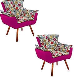 D'Rossi Kit 02 Poltrona Decorativa Opala Suede Composê Estampado Floral Color D17 e Suede Pink - DRossi