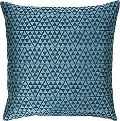 45 x 45 cm Paoletti winbourne Appliqued 100/% Cotton Cushion Cover Blue