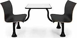 OFM 1006M-BLK Retro Bench with Stainless Steel Table Top and Middle Frame