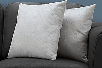 Monarch Specialties Feathered Velvet Decorative Throw Pillow 18x 18 Light Gray