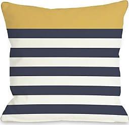 One Bella Casa Nautical Stripes Throw Pillow by OBC, 16x 16, Mimosa/Navy/White