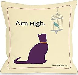One Bella Casa Aim High Cat Throw Pillow by Dog is Good, 20x 20, Yellow/Purple