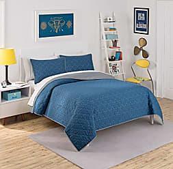 Ellery Homestyles Waverly Kids 16450BEDDFULIND Framework 90-Inch by 90-Inch Reversible Full Quilt Collection, Indigo