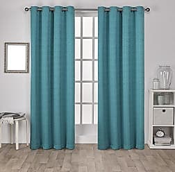 Exclusive Home Exclusive Virenze Faux Silk Curtain Panel Pair - Teal - Size: 54x84 Exclusive Home