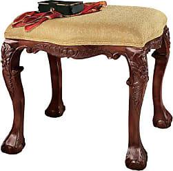 Design Toscano French Baroque Honey Upholstered Medium Bench