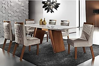 Siena Móveis Conjunto Sala de Jantar Mesa Tampo MDF e 6 Cadeiras Atlanta Tik Plus Siena Móveis Castanho Premio/Pena Bege