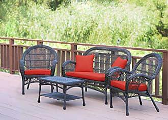 Jeco W00208-G-FS018 4 Piece Santa Maria Wicker Conversation Set with Red Orange Cushions, Espresso