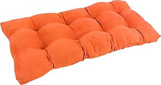 Blazing Needles Microsuede Square Tufted Loveseat Cushion, 42 x 19, Tangerine Dream