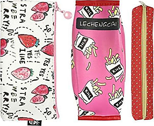 Wrapables Trendy Food Pencil Case and Stationery Pouches (Set of 3), Red