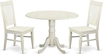 East West Furniture DLWE3-WHI-W 3 Piece Kitchen Table and 2 Dining Room Chairs Set for 2 People