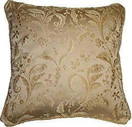 Violet Linen LUXURY DMSK-C Luxury Damask Decorative Throw Pillow, 18 X 18, Gold