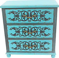 River of Goods 28.5H Painted Peacock Blue Three Drawer Cabinet
