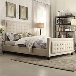Weston Home Eston Upholstered Platform Bed Beige, Size: Queen - E376BQ-1[BED]PL