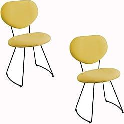 Daf Mobiliário Kit 2 Cadeira Milão Meia Lua Linho Amarelo - Daf Mobiliário