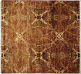 Solo Rugs Eclectic Hand Knotted Square Rug, 4 1 x 4 3, Brown