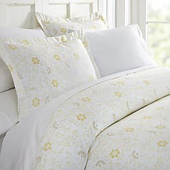 iEnjoy Home 3 Piece Spring Vines Patterned Home Collection Premium Ultra Soft Duvet Cover Set, Queen, White