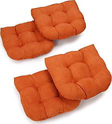 Blazing Needles U-Shaped Microsuede Tufted Dining Chair Cushions (Set of 4), 19, Tangerine Dream