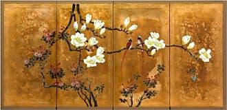 Oriental Furniture ORIENTAL Furniture Love Birds on Traditional Gold Leaf