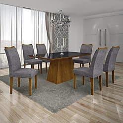 Leifer Conjunto Sala de Jantar Mesa Tampo MDF/Vidro Preto 6 Cadeiras Pampulha Leifer Canela/Linho Cinza