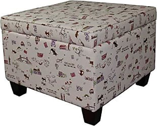 Ore International ORE International HB4615 Kids Print Seating Ottoman with Storage, 18.75