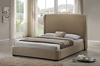 Wholesale Interiors Baxton Studio BBT6318-Beige-King Sheila Linen Modern Bed with Upholstered Headboard, King, Tan
