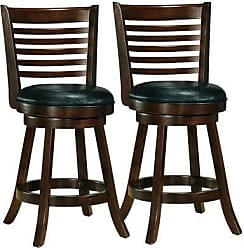 CorLiving DWG-994-B Woodgrove Cappuccino Stained Counter Height Swivel Barstool with Bonded Leather Seat, Set of 2, 25 Seat Height