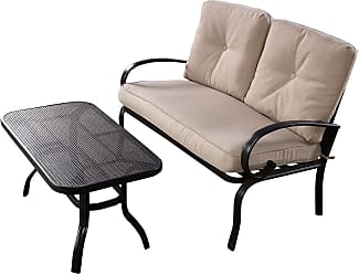 Costway 2 pcs Patio Outdoor Cushioned Coffee Table Seat