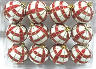 Queens of Christmas WL-ORN-12PK-PLD-RE White Ball Ornament with Red & Gold Plaid Design (Pack of 12)