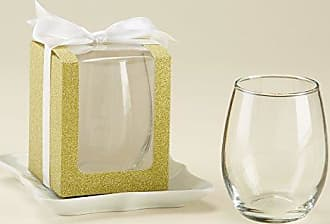 Kate Aspen Gold Shimmer Display Gift Box, Gift/Party Favor, can hold 9 oz. Stemless Wine Glass (Set of 12)