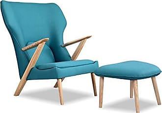 Kardiel CO-URBANSURF Cub Modern Lounge Chair & Ottoman, Urban Surf Vintage Twill
