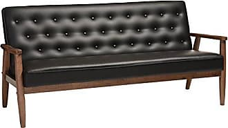 Wholesale Interiors Baxton Studio Sorrento Mid-Century Retro Modern Faux Leather Upholstered Wooden 3-Seater Sofa, Black
