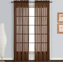 United Curtain Monte Carlo Sheer Window Curtain Panel, 59 by 63-Inch, Chocolate, Set of 2