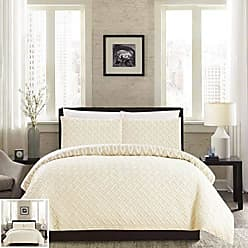 Chic Home 3 Piece Ora Heavy Embossed and Embroidered Quilted Geometrical Pattern Reversible Printed King Comforter Set Beige
