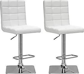 CorLiving DPU-914-B Adjustable Barstool in White Bonded Leather, set of 2