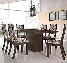 Viero Conjunto para Sala de Jantar Mesa e 6 Cadeiras Viero Dulce Choco/Medina