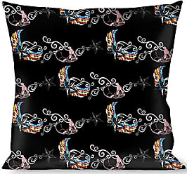 Multicolor Buckle Down Diagonal Handlebar Mustaches White//Black Throw Pillow