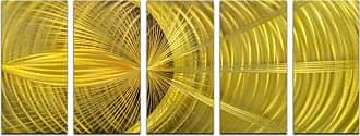 Omax Decor OMAX Golden Hypnotic Sphere Handmade Modern Metal Wall Art - Set of 5 - MC7004