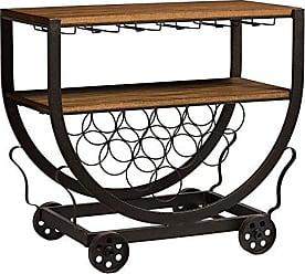 Wholesale Interiors Baxton Studio Triesta Antiqued Vintage Industrial Metal & Wood Wheeled Wine Rack Cart