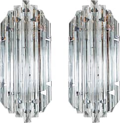 VENINI Pair Of Mid-century Modernist Sconces In Smoked Murano Glass & Nickel