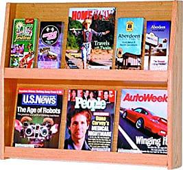 Wooden Mallet Slope 12-Pocket Literature Display, Light Oak
