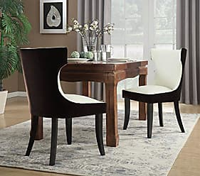 Iconic Home Conrad Dining Side Chair Velvet PU Leather Espresso Wood Frame Modern Transitional, Brown/Light Beige, 2pc Set