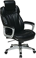 Office Star Executive Eco Leather Chair with Padded Arms, Adjustable Headrest, and Silver Coated Frame, Black