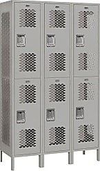 Salsbury Industries Assembled 2-Tier Extra Wide Vented Metal Locker with Three Wide Storage Units, 6-Feet High by 18-Inch Deep, Gray