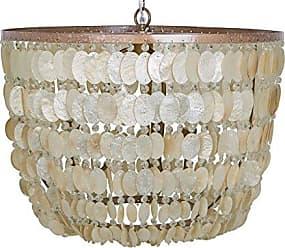 KOUBOO 1050083 Capiz Seashell Draped Pendant Lamp, Champagne, 23.5 x 23.5 x 18.5